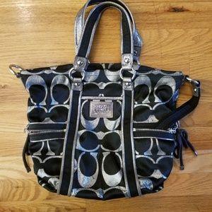 Authentic Coach signature C bag -black and silver